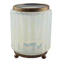 An Opaline Glass Fluted and Bronze Mounted Jar