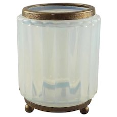 An Opaline Glass Fluted and Bronze Mounted Jar
