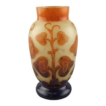 Charles Schneider Le Verre Fancais Art Deco Glass Vase