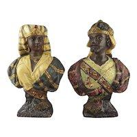 Antique  Victorian 19th Century Terracotta Orientalist Busts