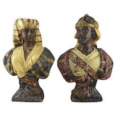 Pair Victorian 19th Century Terracotta Pottery Orientalist Busts
