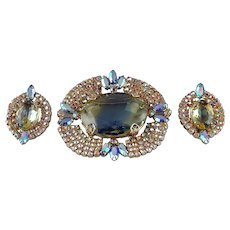 Aurora Borealis Bi-Colored Rhinestone Demi Parure Brooch and Earrings