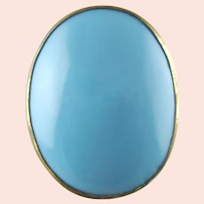 Antique Hatpin in Turquoise Blue Opaline Glass