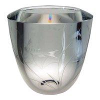 Strombergshyttan Scandinavian Mid Century Art Glass Vase Engraved Fish