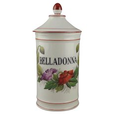 Limoges Porcelain Belladonna (Deadly Nightshade) Apothecary Jar