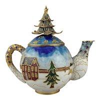 Cloisonné Enamel Christmas Holiday Teapot NYCO