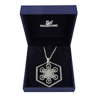 1981 Swarovski Snowflake Christmas Ornament Pendant Necklace