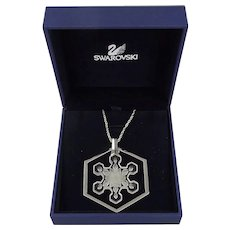 1981 Swarovski Snowflake Christmas Ornament Pendant Necklace
