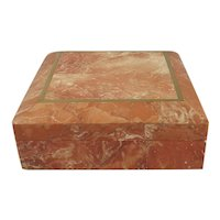 Red Sienna Marble Hinged Box with Brass Inlay