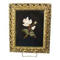 Framed Italian Pietra Dura Rose Plaque