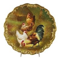Limoges Hand Painted Charger Rooster with Chickens
