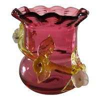 Ruby Glass Toothpick Holder with Applied Uranium Glass Vine Flowers