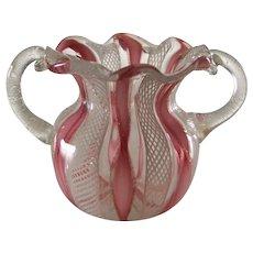 Murano Venetian Art Glass Latticino Zanfirico Handled Toothpick Holder