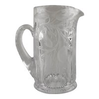 """Heisey Intaglio Carved """"Lemon Tree"""" Pairpoint Etched & Cut Glass Tankard Pitcher"""