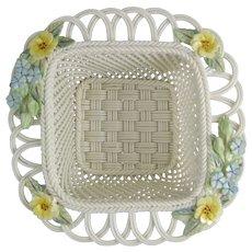 Belleek Fine Parian China Woven Porcelain Primrose Basket 3015