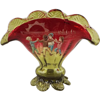 Antique Art Glass Amberina Fan Vase with Enamel Decoration