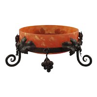 Art Deco Jade Glass Bowl in Wrought Iron Stand
