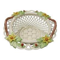 Belleek Fine Parian China Woven Basket – 2736 Flowers of Christmas