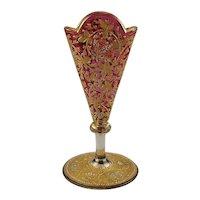 A Diminutive Moser Cranberry Red Glass Fan Vase C1880