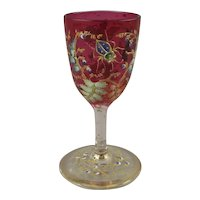 Antique Moser Glass Cordial Goblet with Flying Insect & Bug
