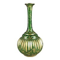Antique Bohemian Glass Genie Bottle Form Vase
