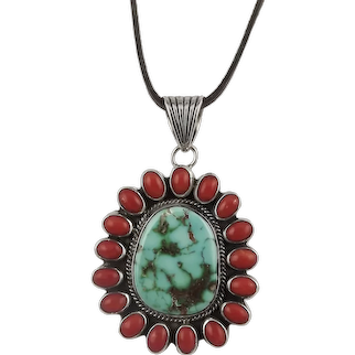 Albert Jake Navajo Sterling Silver Coral Turquoise Pendant Necklace