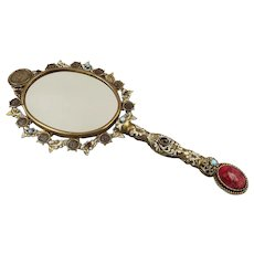 Antique French Enamel Gilt Metal Hand Mirror with Glass Jewels & Coins