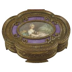 19th Century French Bronze Jewelry Casket with Hand Painted Portrait