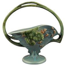 Roseville Pottery Basket 372-12 Blue Glaze Bushberry