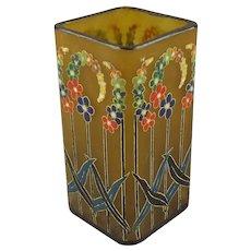 A French Art Deco Enameled Glass Vase