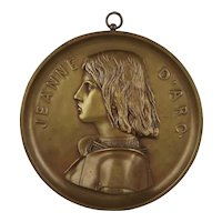 Henri Chapu Barbedienne Bronze Plaque Bust of Jeanne D'Arc