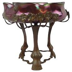 Austrian Iridescent Art Glass Bowl on Art Nouveau Bronze Stand