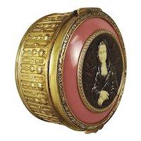 A. Métral French Vanity Jewel Box with Faux Chryselephantine Mona Lisa