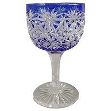 "Blue Russian Cut to Clear Wine Glass 4.5"" ABC Wine Stem"