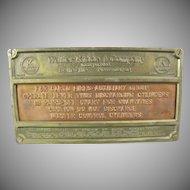 Walter Kidde & Company Instructional Bronze Plaque for Cargo Fire Ship or Airplane