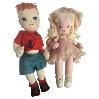Pair of Handmade Cloth Dolls