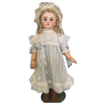 Vintage Doll dress, lace pinafore and bonnet