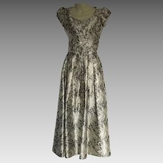 Vintage Formal Gown Silver & Gold Brocade Metallic Two Piece