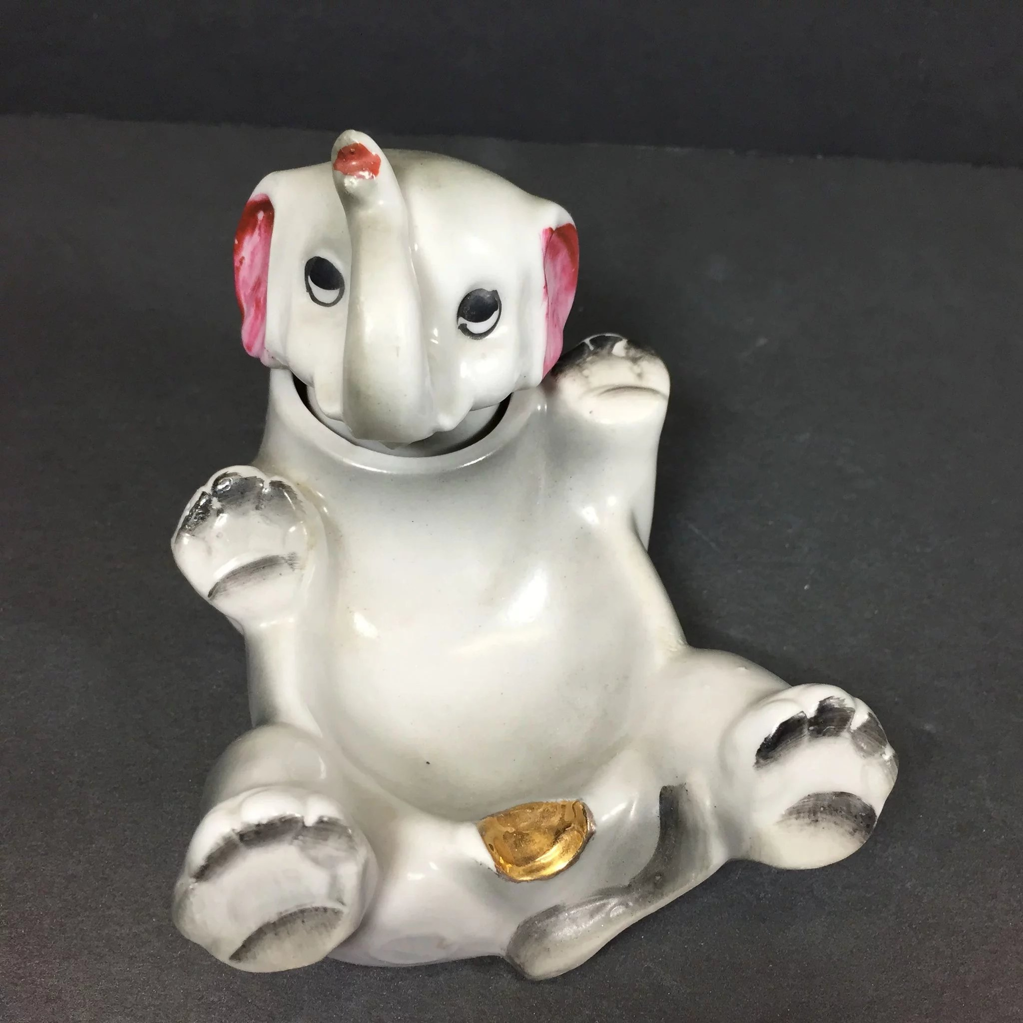 Vintage Nodder Ashtray Elephant Ceramic Heads Up Vintage