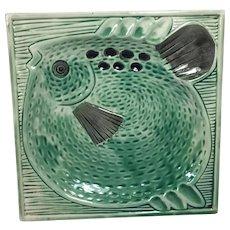 Vintage Ashtray Mid-Century Pottery w Fish