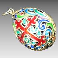 Vintage Russian Enamel & Sterling Silver Filigree Egg Pendant
