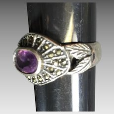 Vintage Sterling Ring Marcasite Amethyst