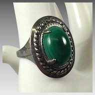 Vintage Sterling Ring Green Faux Malachite Stone