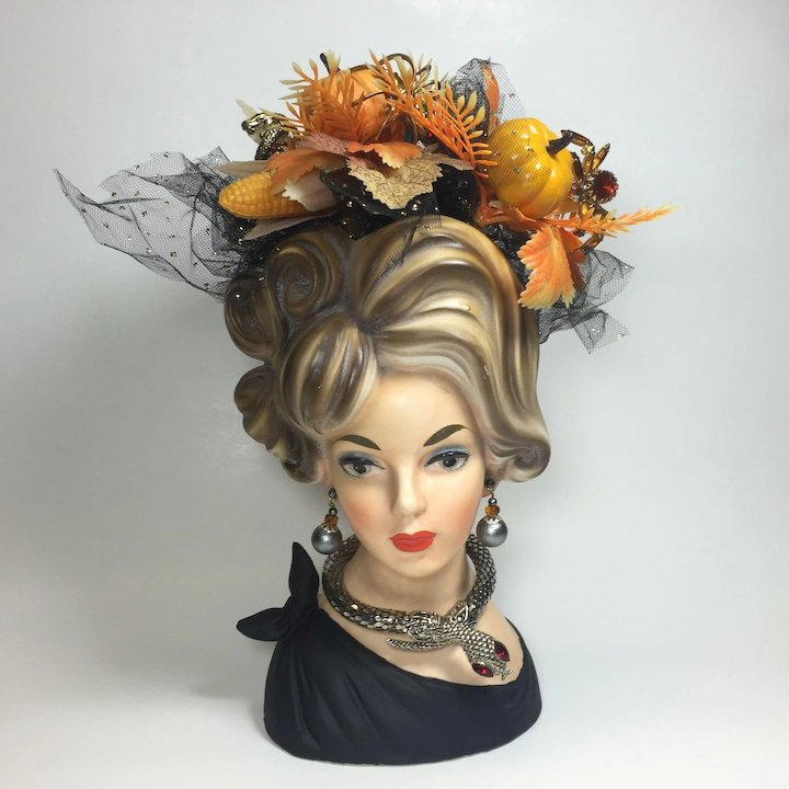 Tall Napco Lady Head Vase W Fall Halloween Foliage Jewelry Heads