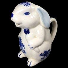 Vintage Creamer Rabbit Pitcher Blue White
