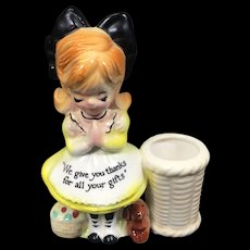 Vintage Enesco Prayer Lady Ceramic Toothpick Holder