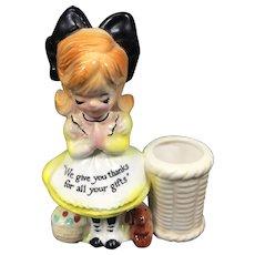 Vintage Enesco Prayer Lady Ceramic Toothpick Holder