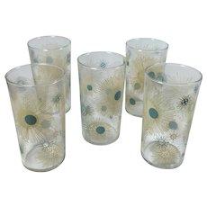 Vintage Beverage Glasses Atomic Sunburst Beverage Glasses Turquoise Tan