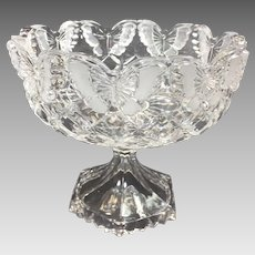 Vintage Glass Compote Butterfly Crystal