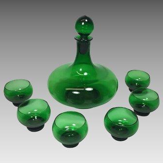 Vintage Green Glass Liquor Decanter Cordial Shot Glasses MCM